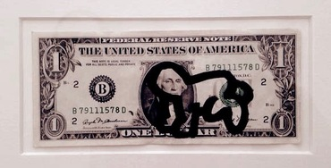 Drawing with felt Pen on Dollar Bill