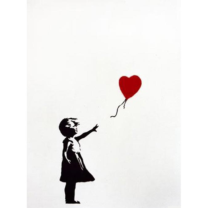 banksy girl with the balloon signed widewalls. Black Bedroom Furniture Sets. Home Design Ideas