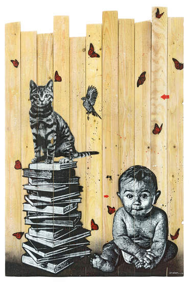 Books, cat, bird and baby