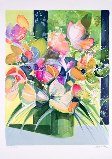 Bouquet nappe bleue