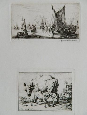 Pêcheurs De La Mer Du Sud (After Zeeman) [With] La Brebis Et Les Deux Agneaux (After Van De Velde), 1850