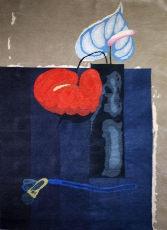Vase Mit Zwei Anturien (Tapestry / Teppich)