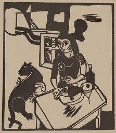 Am Tisch Sitzende Frau Mit Katze Und Fisch / Woman Sitting At Table With Cat And Fish