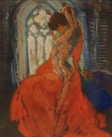 Danseuse Au Voile Rouge Et Vitrail