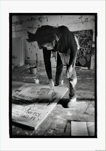 Basquiat painting on floor, New York, 1983