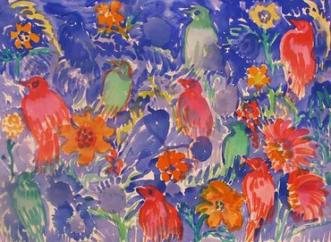 Finches on Blue, ca. 2005