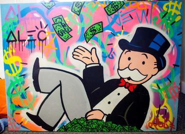 Monops Laying on Money Graffiti Background