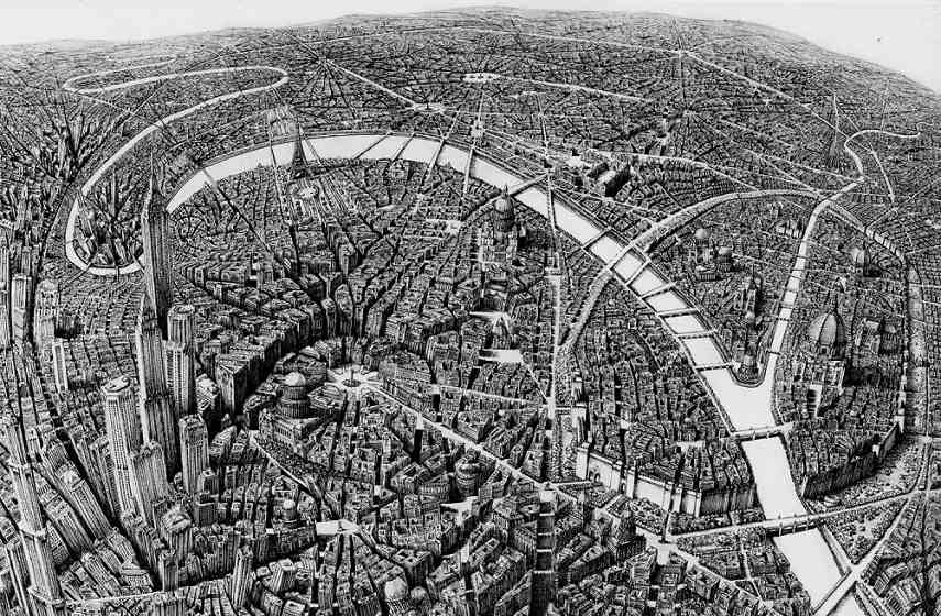 Presenting an intricate map of a fictional city, the design of this piece is reminescent of Escher.