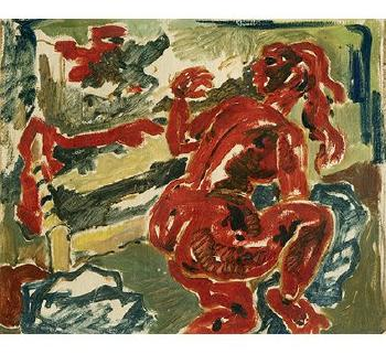 Maqbool Fida Husain-Red Nude-1950