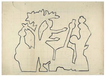Maqbool Fida Husain-Preparatory Drawings for Toys-1950