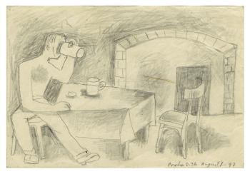 Maqbool Fida Husain-Drawings of Prague-1957