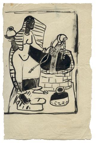 Maqbool Fida Husain-Sketches of Women-1950