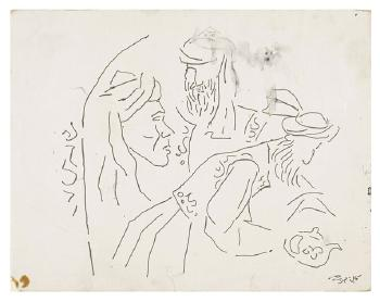 Maqbool Fida Husain-Untitled (A Group of Four Drawings)-1963