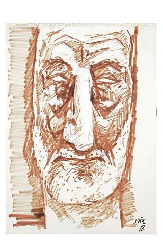 Maqbool Fida Husain-Three Portraits-