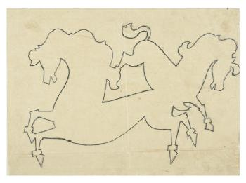 Maqbool Fida Husain-Four Preparatory Drawings for Toys-1950