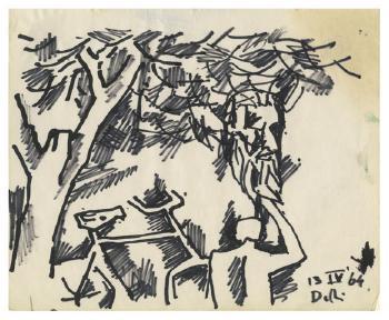 Maqbool Fida Husain-Untitled (A Group of Three Drawings)-1960