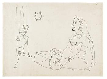 Maqbool Fida Husain-Puppeteer and Dancers-1959