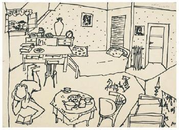 Maqbool Fida Husain-Interior Scenes-1950