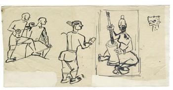 Maqbool Fida Husain-A Group of Five Studies-1950