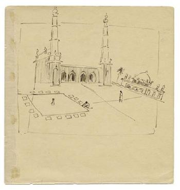 Maqbool Fida Husain-Architectural Drawings of Hyderabad and Chennai-1950