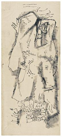 Maqbool Fida Husain-Three Rajasthan Drawings-1960