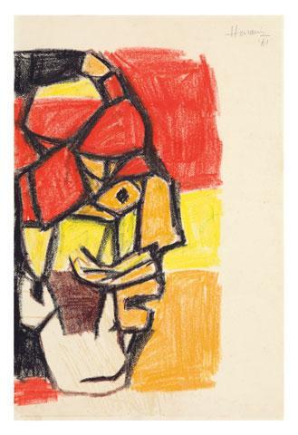 Maqbool Fida Husain-Heads-1962