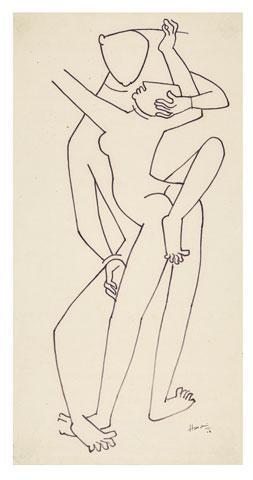 Maqbool Fida Husain-A Drawing from the Khajuraho Series-1954