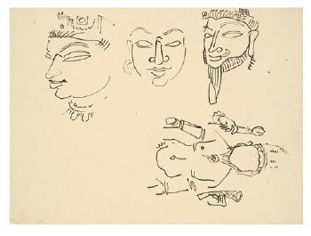 Maqbool Fida Husain-Ten Studies of Classical Indian Sculpture-1950