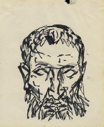 Maqbool Fida Husain-Self Portrait-1950