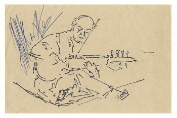 Maqbool Fida Husain-Autographed Portraits of Ali Akbar Khan-1977