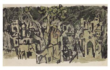 Maqbool Fida Husain-Village Scene-1962