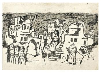 Maqbool Fida Husain-Two Village Scenes-1962