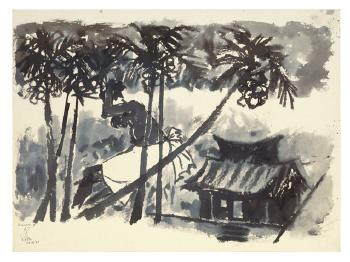Maqbool Fida Husain-Kerala - Figure in Landscape-1967