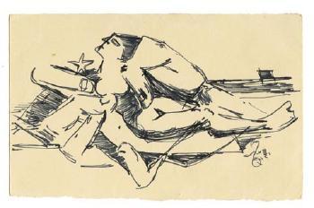 Maqbool Fida Husain-A Group of Eight Postcards-1960