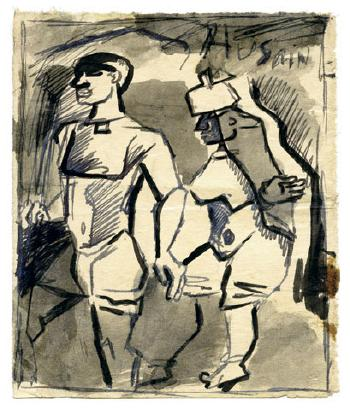 Maqbool Fida Husain-Untitled (A Group of Four Drawings)-1950
