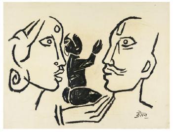 Maqbool Fida Husain-Family-1950