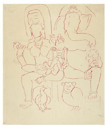 Maqbool Fida Husain-Five Studies of Temple Sculpture-1950