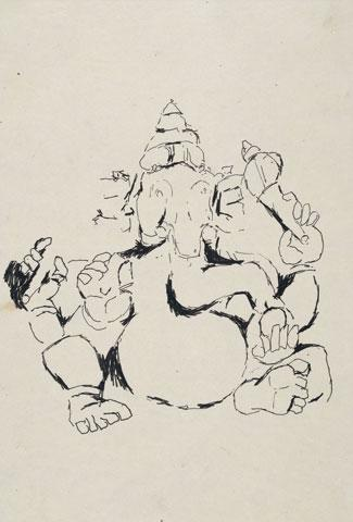 Maqbool Fida Husain-Three Studies of Temple Sculpture-1950