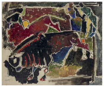 Maqbool Fida Husain-Ploughing-1951