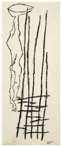 Maqbool Fida Husain-Untitled (A Group of Three Linear Drawings)-1967