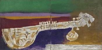 Maqbool Fida Husain-Veena in Landscape-1970