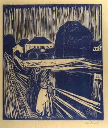 Edvard Munch-Girls on the Bridge / Madchen auf der Brucke-1920
