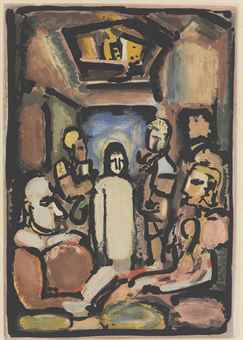 Georges Rouault-Four Prints By The Artist: (i) Christ et Sainte Femme; (ii) Ecce Dolor; (iii) Le Christ et Mammon; (iv) Christ en Croix-1935