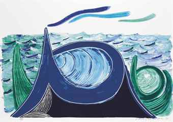 David Hockney-The Wave, A Lithograph-1990