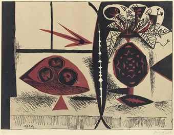 Pablo Picasso-Composition Au Vase De Fleurs-1947