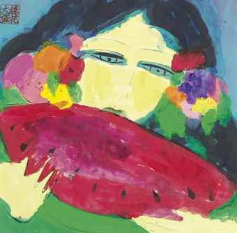 Walasse Ting-Lady Eating Red Watermelon-1984