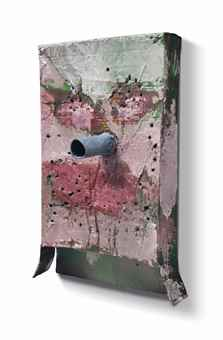 Mark Grotjahn-Untitled (Pink And Green Articulated Face Hanging Perforated Mask M3.A)-2011