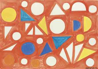 Alexander Calder-Many White Triangles On Pink-1962