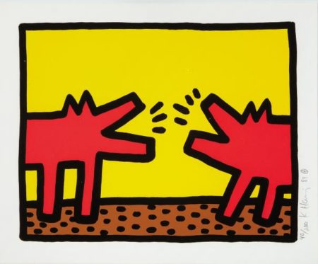 Keith Haring-Barking Dogs From Pop Shop Quad IV-1989