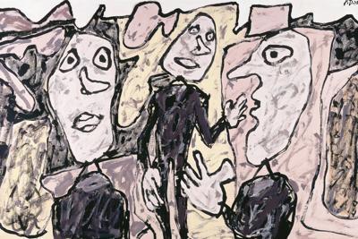 Jean Dubuffet-Paysage Rose Avec 3 Personnages Vetus De Noir-1975